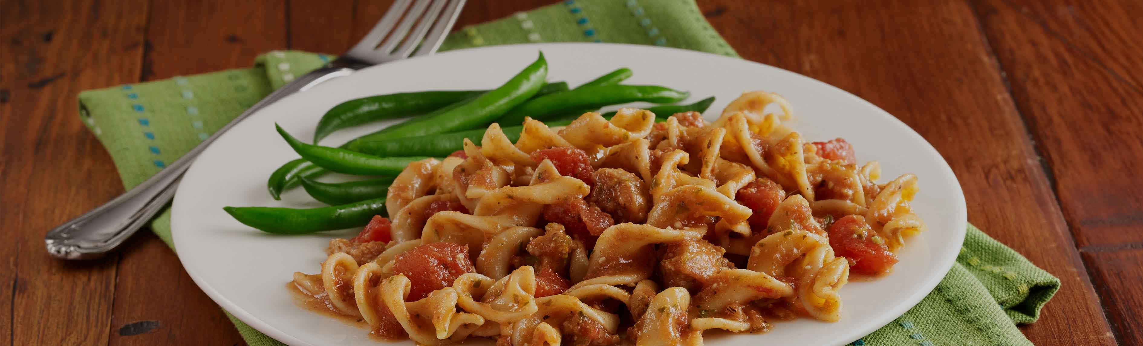 Sausage Tomato and Noodle Toss