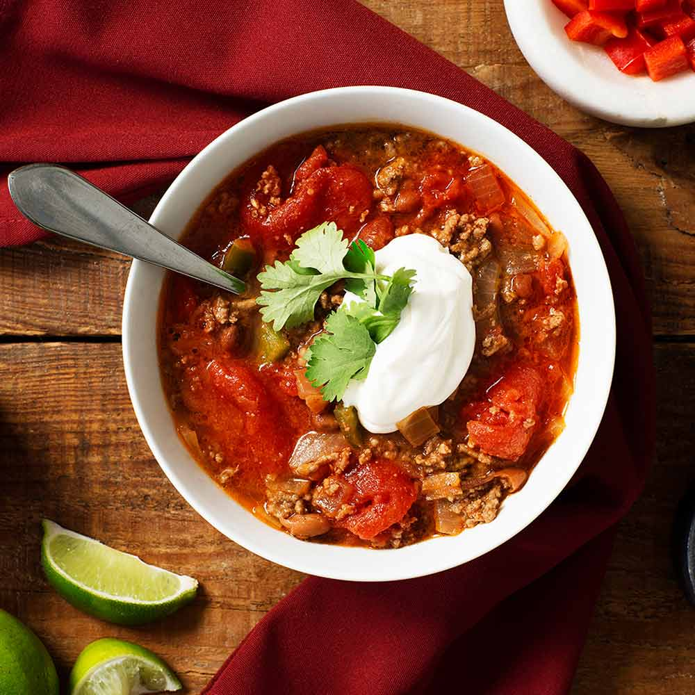 Chili Con Carne With Pinto Beans And Poblano Pepper