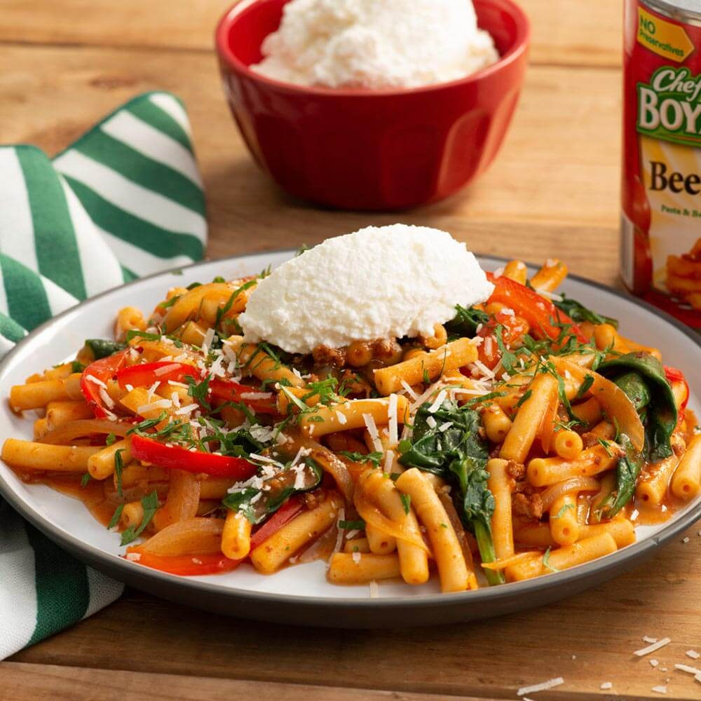 Chef Boyardee spinach Pepper Beefaroni