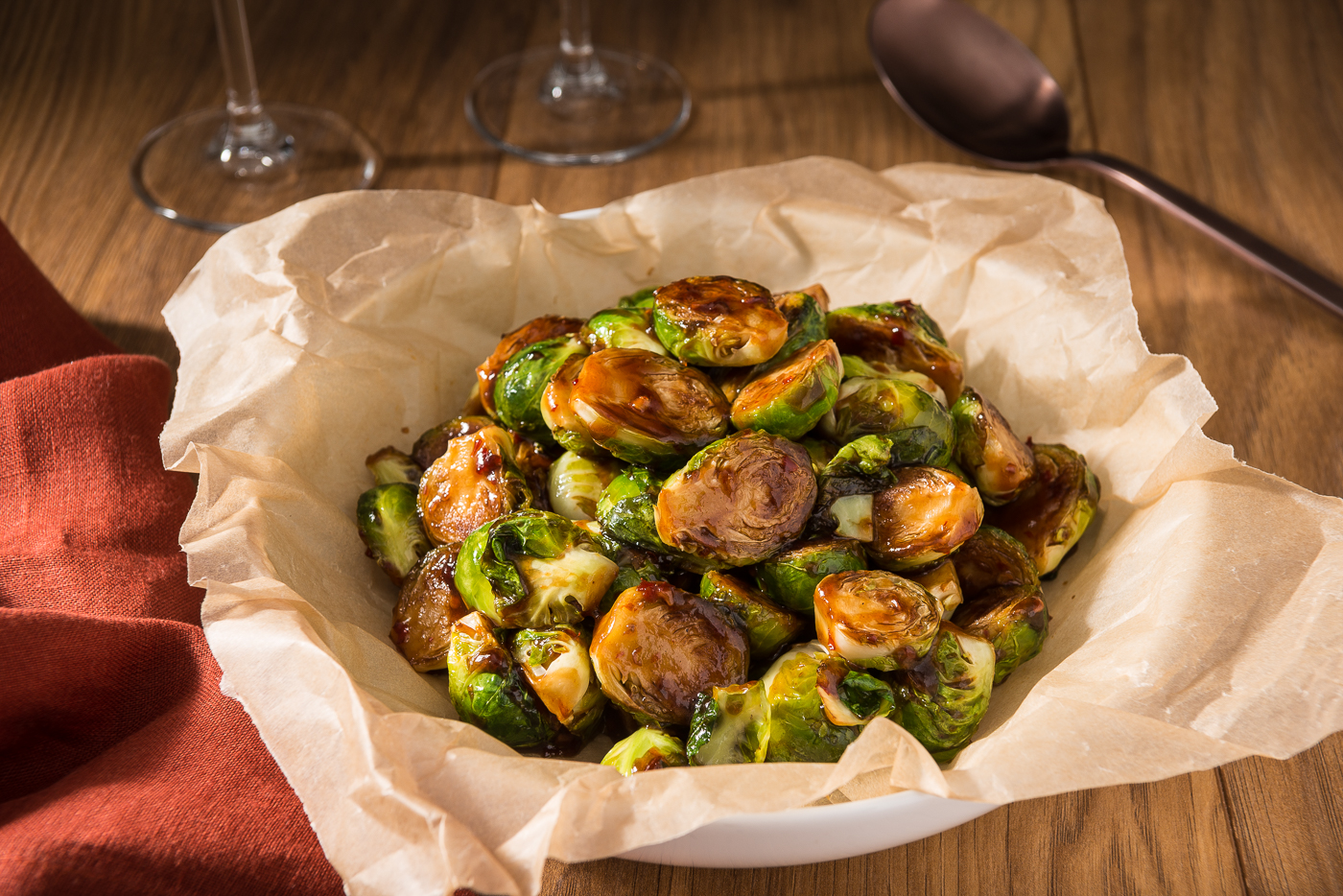 These spicy caramelized Brussels sprouts make an easy and impressive side dish for holiday entertaining.