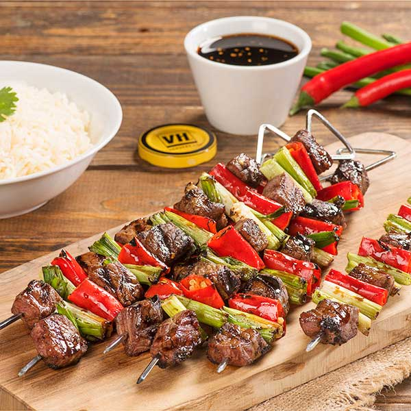 Beef, Red Chili and Green Onion Kabobs