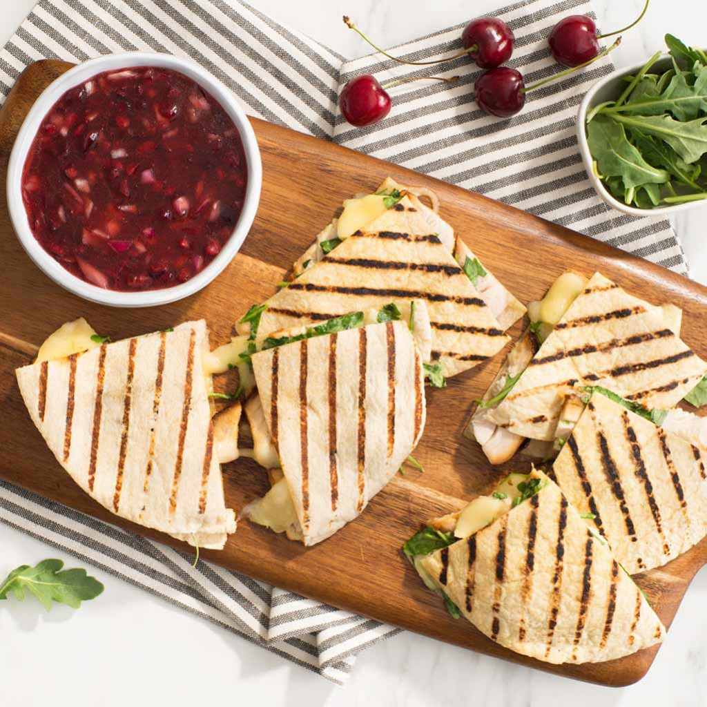 Chicken and Brie Grilled Quesadillas with Cherry Salsa
