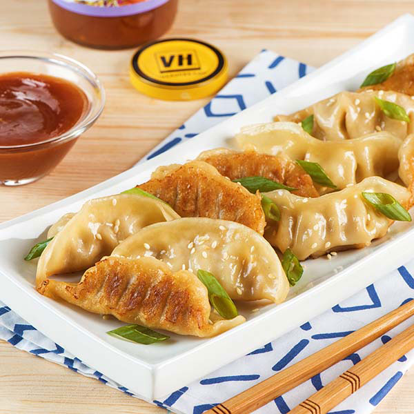 Crispy Sesame Dumplings with Plum Sauce