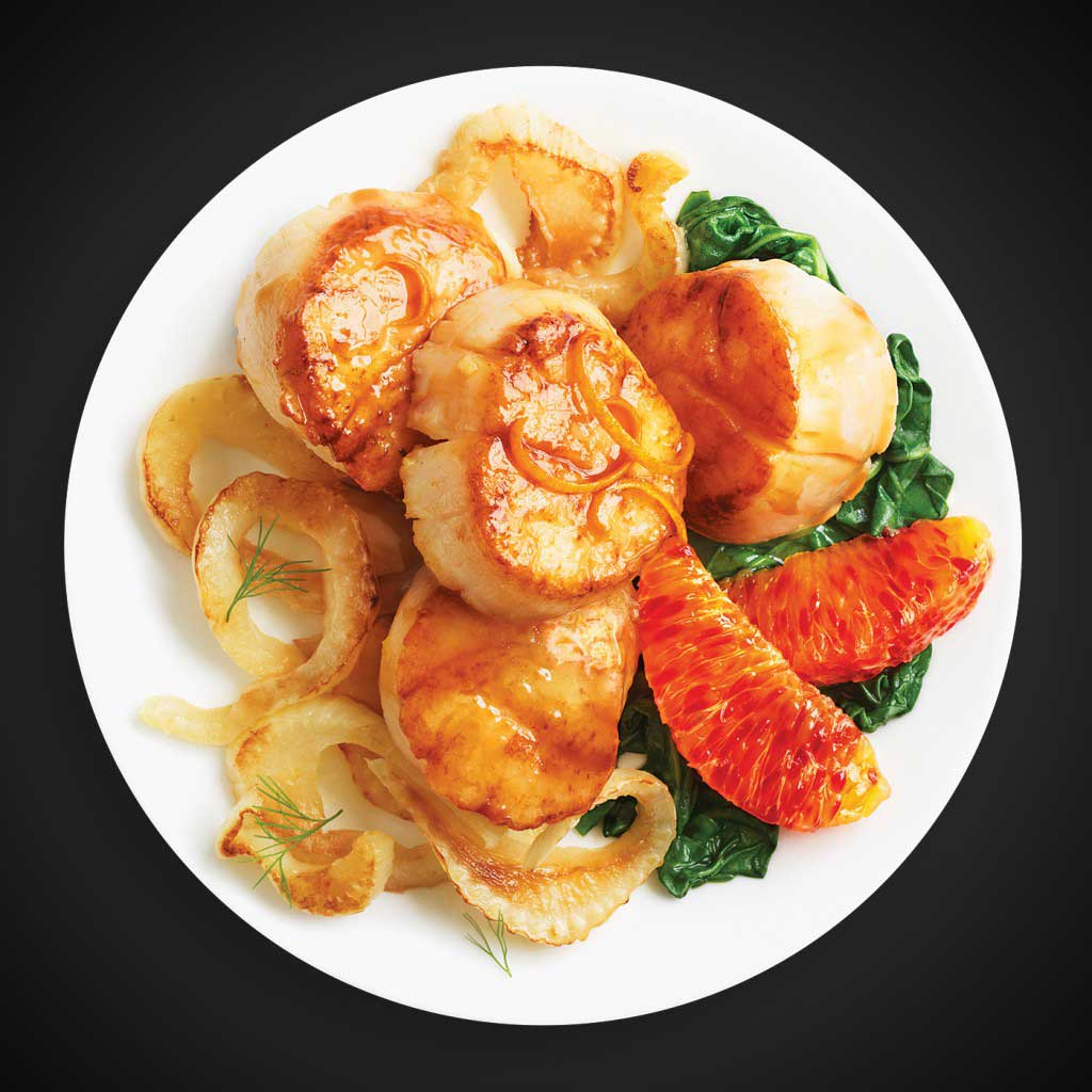 Scallops with Wilted Fennel & Spinach